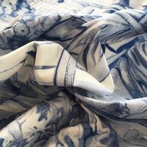 Хлопок рубашечный японские мотивы в голубых тонах