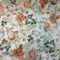 Хлопок стрейч принт D&G на ванильном фоне вьющиеся цветы