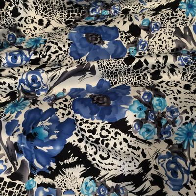 Хлопок стрейч плательный принт синие цветы