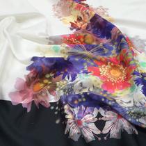 Хлопок атласный с шелком большой цветочный купон