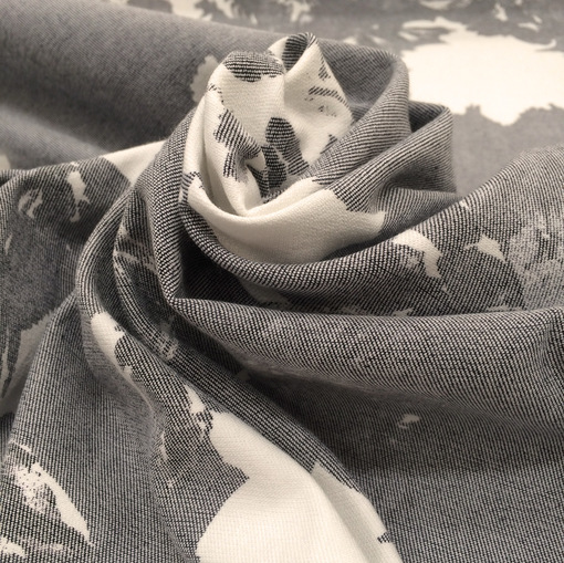 Джинса стрейч принт розы на сером фоне