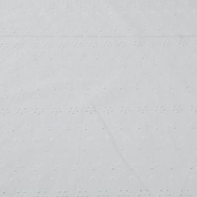 Хлопок вышитый белого цвета с фестонами