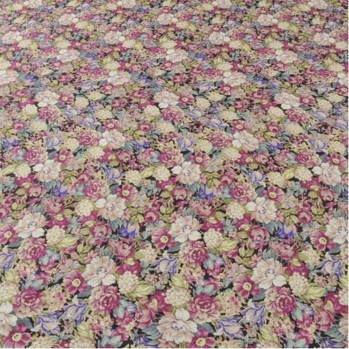 Плательно-костюмный хлопок стрейч с цветами в тоне фуксии