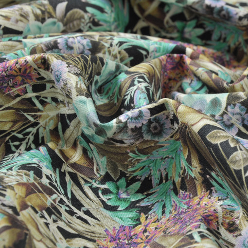 Костюмный хлопок стрейч с букетиками морской волны и фуксии