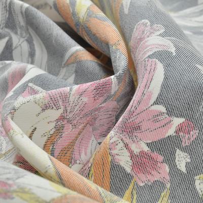 Хлопок стрейч костюмный под джинсу с листьями и цветами