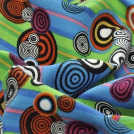 Хлопок костюмный стрейч в салатовые, голубые продольные полоски и цветные кружки