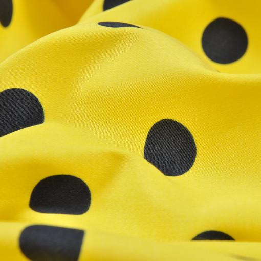 Хлопок костюмно-плательный лимонный в черный горох