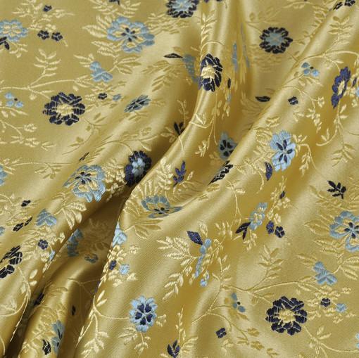 Шелковый жаккард золотистый с мелкими цветочками
