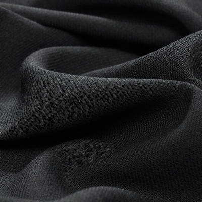 Костюмная шерстяная ткань черная едва заметная диагональ