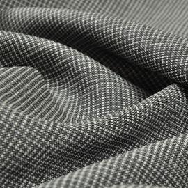 Костюмная шерстяная ткань серо-черная клеточка