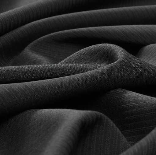 Костюмная шерстяная черная ткань в частую полоску
