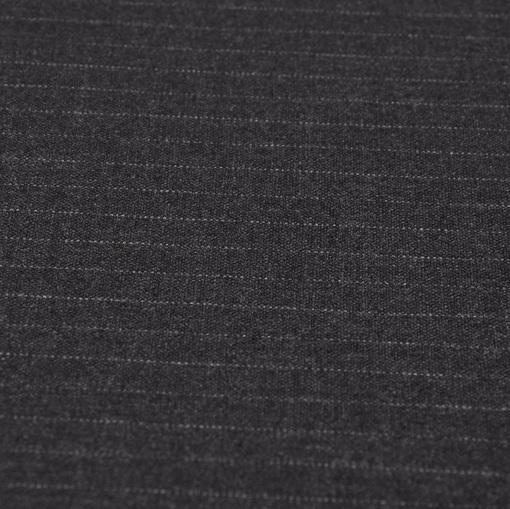 Костюмная шерстяная ткань черного цвета с серой тонкой полосой