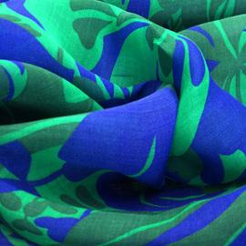 Лен тонкий сине-зеленый принт