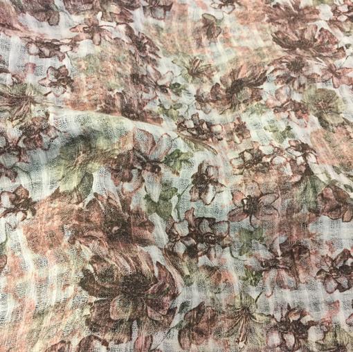 Лен тонкий типа марлевки абстрактные цветы в шоколадных тонах