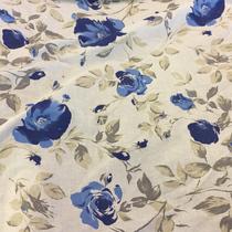 Лен тонкий Blumarine молочный фон с голубыми цветами