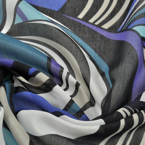 Муслин сине-бежевые чешуйки
