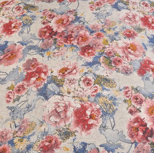 Блузочная синтетическая ткань цветочный принт