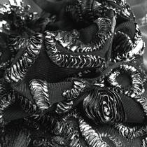 Сетка с напылением и вышивкой лентой двухсторонний купон