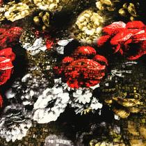 Неопрен ( скубо ) плательный принт мозаика и розы