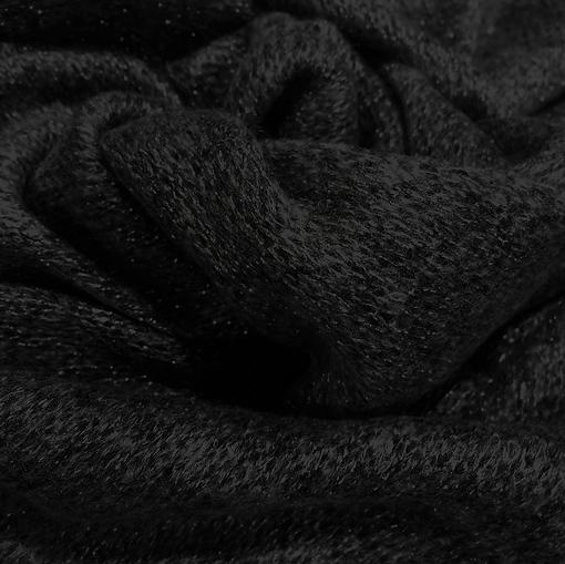 Трикотаж смесовый паутинка черная с черным люрексом