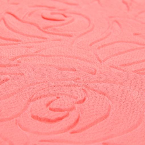 Объемный трикотаж Scuba кораллового цвета с розами