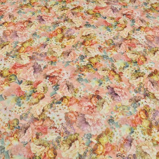 Трикотаж Scuba с цветочным принтом на лососевом фоне