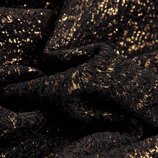 Нарядная двухслойная ткань креш черного цвета с золотым напылением