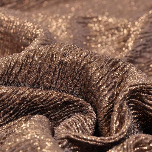 Нарядный трикотаж креш коричневый с золотым напылением
