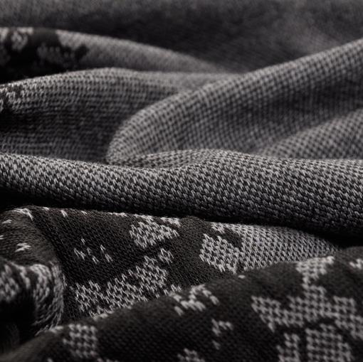 Темно серый трикотаж с продольным объемным кружевным купоном