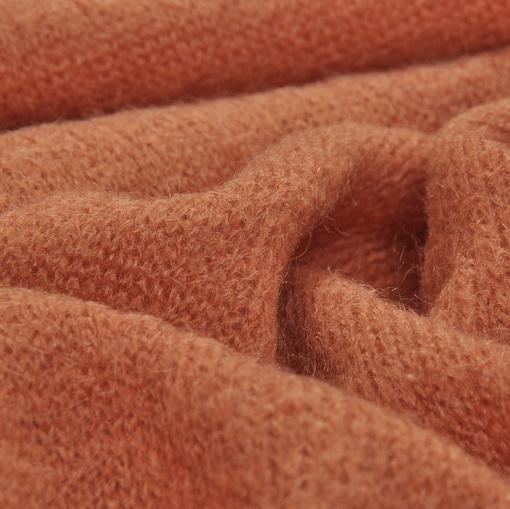 Смесовый теплый трикотаж терракотового цвета