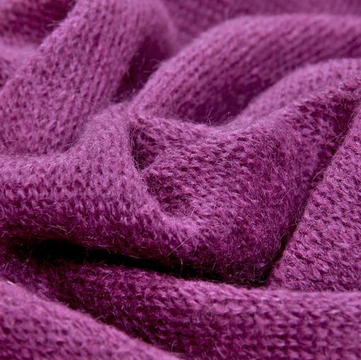 Смесовый теплый трикотаж брусничного цвета