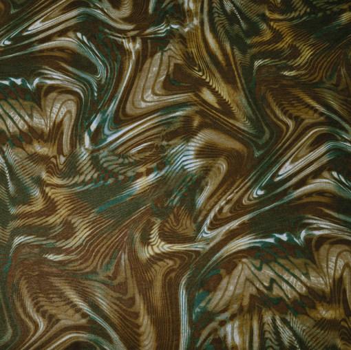 Трикотаж тонкий шерстяной цвета хаки с бирюзой