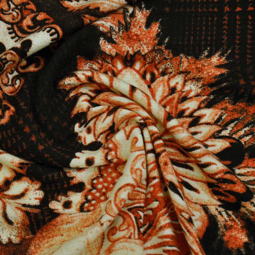 Смесовый теплый трикотаж с терракотово-ванильными цветами