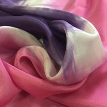 Шелк атлас купон абстракция в розово-сиреневых тонах