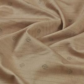 Итальянский шелк для сорочек цвета капучино с набивным рисунком