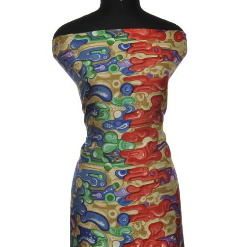 Полуматовый шелк с абстрактным рисунком в красно-синих тонах