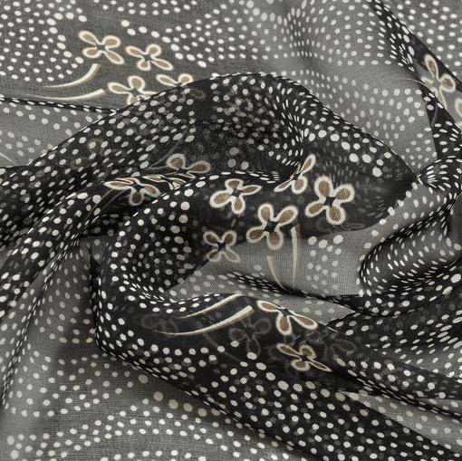 Натуральный шелковый шифон черного цвета с горохово-цветочным рисунком
