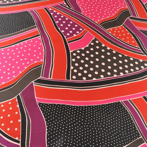 Шелк атласный пэчворк фуксия, красный, розовый и черный