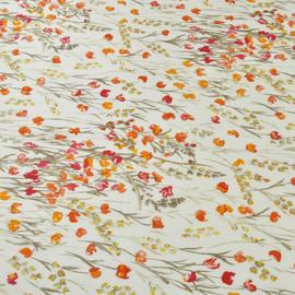Белый крешированный хлопок с шелком с ярким рисунком из полевых цветов