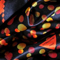 Шёлк атлас купон геометрия в оранжево-красных тонах