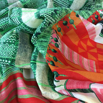 Муслин McQueen купон кораллово-зелёный принт