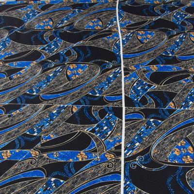 Жаккардовый шелк галстучно-рубашечный сине-черный принт