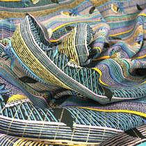 Вискоза нарядная в голубую полоску с люрексом