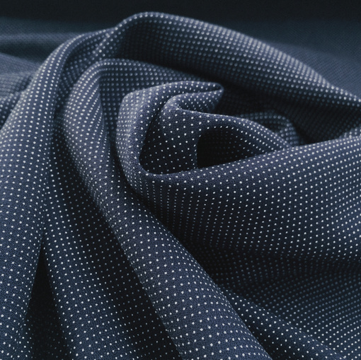Вискоза плательная мягкая плотная белые точки на темно-синем фоне