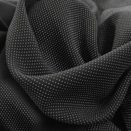 Вискоза плательная мягкая плотная белые точки на черном фоне