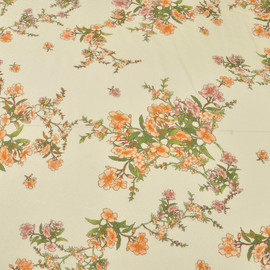Вискоза жаккардовая плательная персикового цвета с рисунком из веточек и цветов