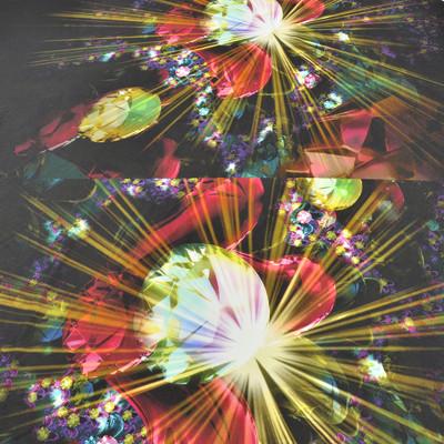 Вискоза-стрейч купон с рисунком из ярких кристаллов
