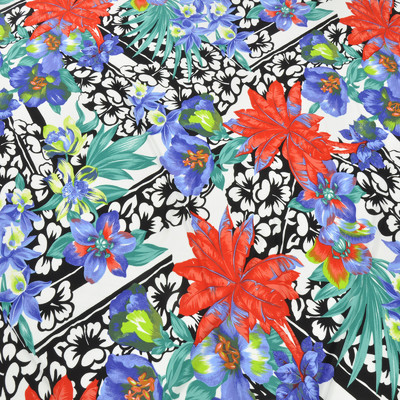 Трикотаж вискозный с ярким цветочным рисунком в красно-бирюзово-зеленых тонах