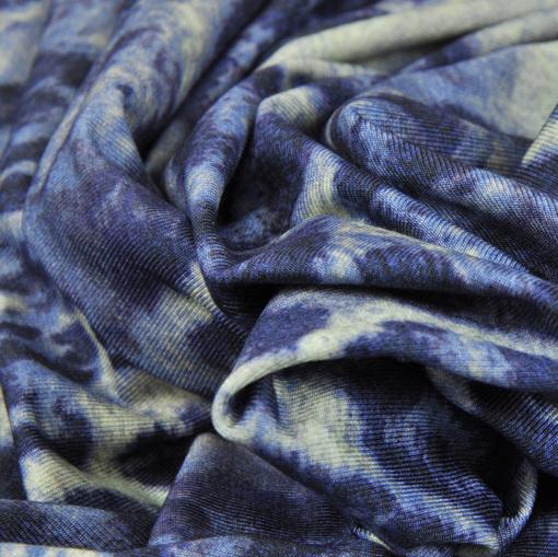 Вискозный синий трикотаж с купоном из синих роз и леопарда