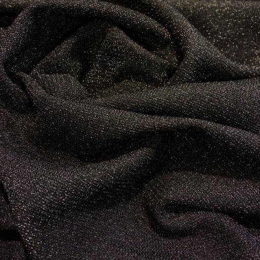 Трикотаж вискозный черный с черным люрексом